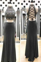 Unique chiffon two pieces beaded sequins long evening dresses,prom dress  cg7027