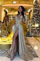 Shiny Gold Sequin Prom Dress  cg7032