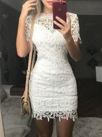 See Through Lace Bodycon Mini homecoming Dress  cg7039
