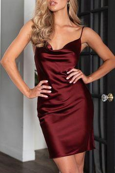 Wine Red Satin Mini Homecoming Dress  cg7056