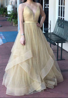 Champagne V Neck Tulle Long Prom Dress, Champagne Tulle Formal Dress  cg7060