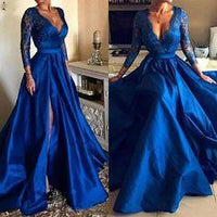 Royal Blue Prom Dresses Long Sleeves Side Split Lace Appliques Elegant Satin Evening Gowns 2020 Sexy Deep V-Neck A-Line Party Dress  cg7063
