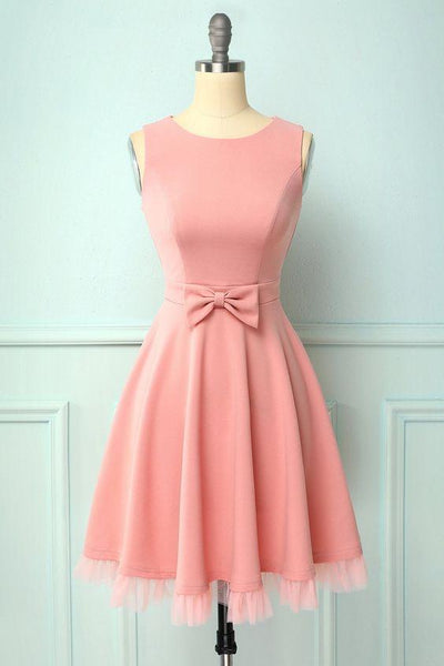 Blush A-line Splice Tulle Swing homecoming Dress with Pockets & Bow  cg7067