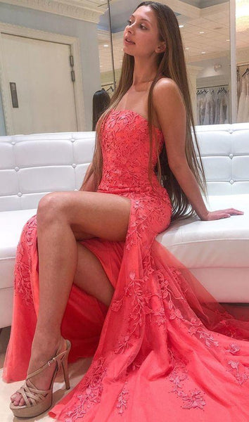 Mermaid Strapless Prom Dress With Lace   cg7070