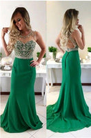 Gorgeous Cheap Green Beaded Mermaid Long Prom Dresses, Evening Dress,prom dress  cg7097