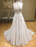 White v neck tulle long prom dress, lace evening dress, white lace wedding dress  cg7109