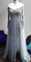 gray tulle lace long prom dress, gray tulle evening dress  cg7114