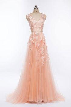 Pink v neck tulle lace applique long prom dress, pink evening dress  cg7118