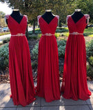 Burgundy v neck chiffon long prom dress, burgundy evening dress  cg7119