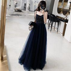 Stylish A Line Spaghetti Straps Navy Blue Prom Dress with Beading, Long Evening Dress  cg7125
