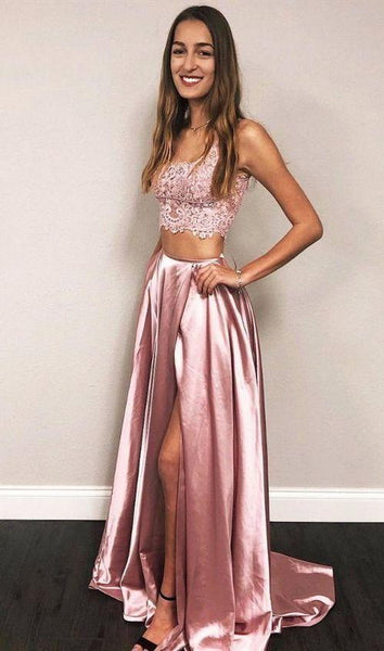 Two Piece Pink Long Prom Dresses For Teens, Chic A Line Party Dresses With High Splits,simple Garduation Dresses For Girls  cg7131