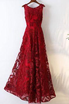 Burgundy round neck lace long prom dress, burgundy evening dress  cg7136