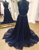 Prom Dresses Unique, Dark blue two pieces long prom dress, formal dress  cg7137