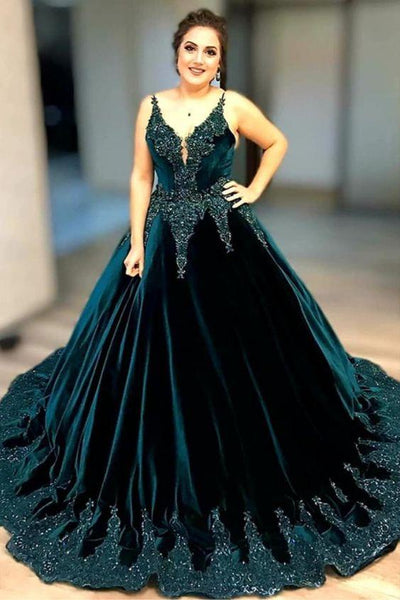 Forrest Embroidery Lace Ball Gowns Prom Dresses V Neckline with Beads  cg7143