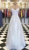 Creamy Tulle V Neck Custom Made Long Prom Dress, Evening Dress With Applique  cg7153