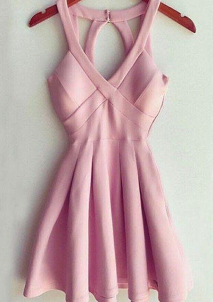 Stylish A-Line Deep V Neck Short Mini Pink Satin Homecoming Dress With Keyhole Back  cg7157