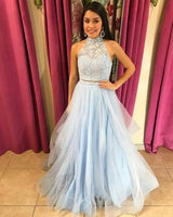 Two Pieces Prom Dress,Light Blue Prom Gown,Two Piece Pageant Dress  cg7166