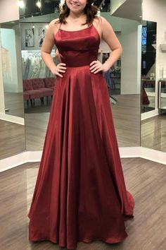 Gorgeous Straps Red Long Prom Dress with Slit  cg7174