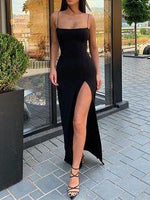 Mermaid Low-cut Spaghetti Straps Open Back Black Satin Long Prom Dresses with High Split   cg7191