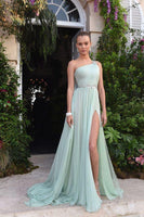 Green prom dress with side slit  cg7192