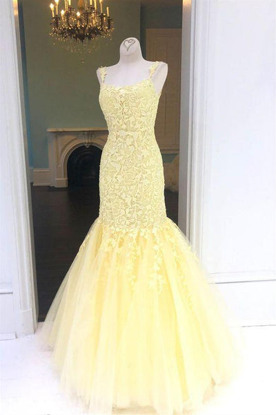 elegant yellow prom dresses, mermaid lace prom gowns, modest evening party gowns  cg7193