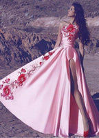 Prom Dresses Beautiful, Arabic Pink One Shoulder Prom Dresses Long Satin Embroidery Appliques  cg7224