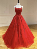 Red tulle lace long prom dress  cg7226