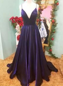 Simple purple v neck satin long prom dress, evening dress  cg7230
