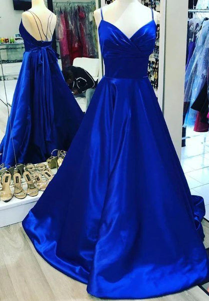 Straps Royal Blue Long Party prom Dress with Bow  cg7231