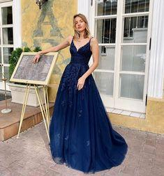 Charming Navy Blue V Neck Lace Tulle Prom Dress,Spaghetti Straps A Line Evening Dress,Formal Dress  cg7237