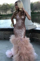 Sparkly Deep V-neck Sequins Ruffle Mermaid Prom Dresses  cg7239