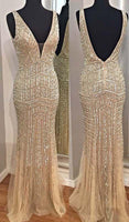 champagne deep v-neck prom dresses, sexy deep v-neck evening gowns with beading, backless prom party dresses  cg7242