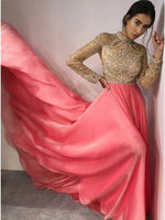 Fancy High Neck Long Sleeves Pink Prom Evening Dress with Beading   cg7247