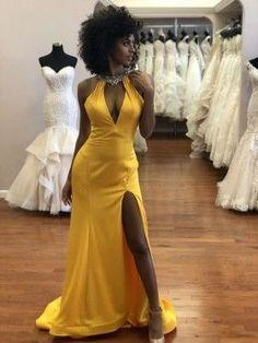 Sexy Yellow Satin Beaded Halter V-neck Thigh-high Slit Floor Length Prom Dress  cg7251