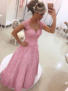 Gorgeous A-line Long Pink Lace Prom Dress with Open Back  cg7252