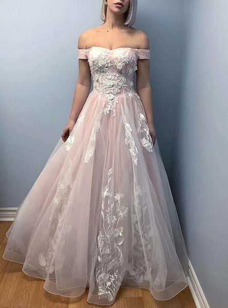 A-Line Pink Tulle Off the Shoulder Appliques Prom Dress  cg7261
