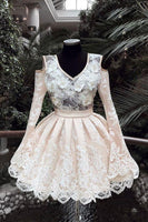 V Neck Lace Short Party Dress, Long Sleeves Homecoming Dress   cg7262