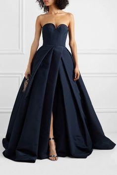 Navy Blue Satin A Line Side Slit Long Prom Dress Custom Made Prom Party Gowns   cg7264