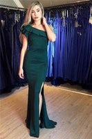 One-Shouler Dark Green Mermaid Prom Dresses with Side-Slit   cg7295