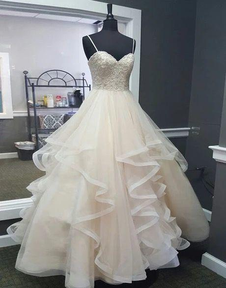Sweetheart Creamy Tulle Spaghetti Straps Long A Line Prom Dress, Ball Gown   cg7306