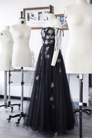 Black Tulle A Line Spaghetti Straps Evening Dress, Prom Dress With Applique  cg7307