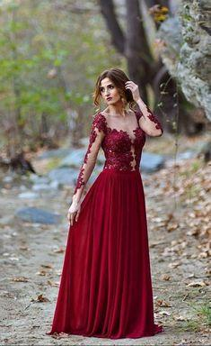 Burgundy party gowns,Lace Appliques evening dress, Long Sleeve Prom Dress, Sexy ball gowns  cg7313