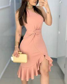 One Shoulder Waist Twisted Ruffles Hem prom Dress  cg7316