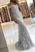 Mermaid Silver Lace Prom Dress, Evening Dress, Pageant Dance Dresses, Graduation School Party Gown  cg7317