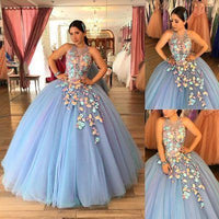 Unique Jewel Blue Long Quinceanera prom Dress  cg7323