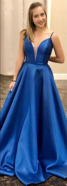 Elegant Royal Blue Satin Long Prom Dress, 2020 Dress, Graduation Dress  cg7325