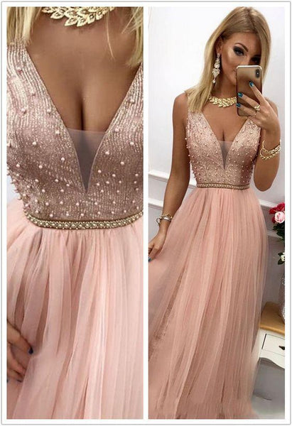 Popular Tulle Prom Dresses A-line Beaded Evening Gowns   cg7326