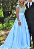 Blue Prom Dresses Round Neck Beading Satin  cg7329