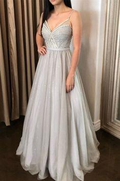 Sparkle Silver Tulle Long Prom Dress with Straps  cg7336