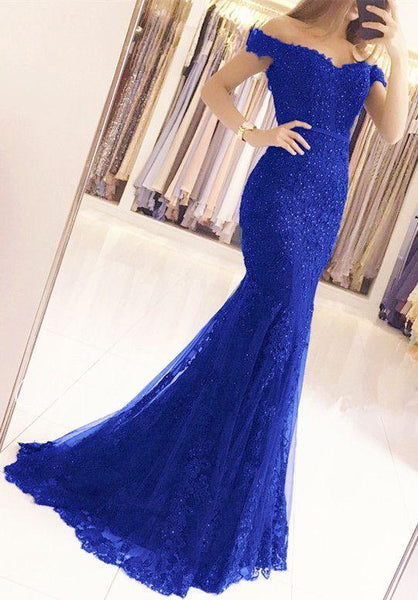 Glamorous  Lace Mermaid Appliques Off-the-shoulder Prom Dresses  cg7341